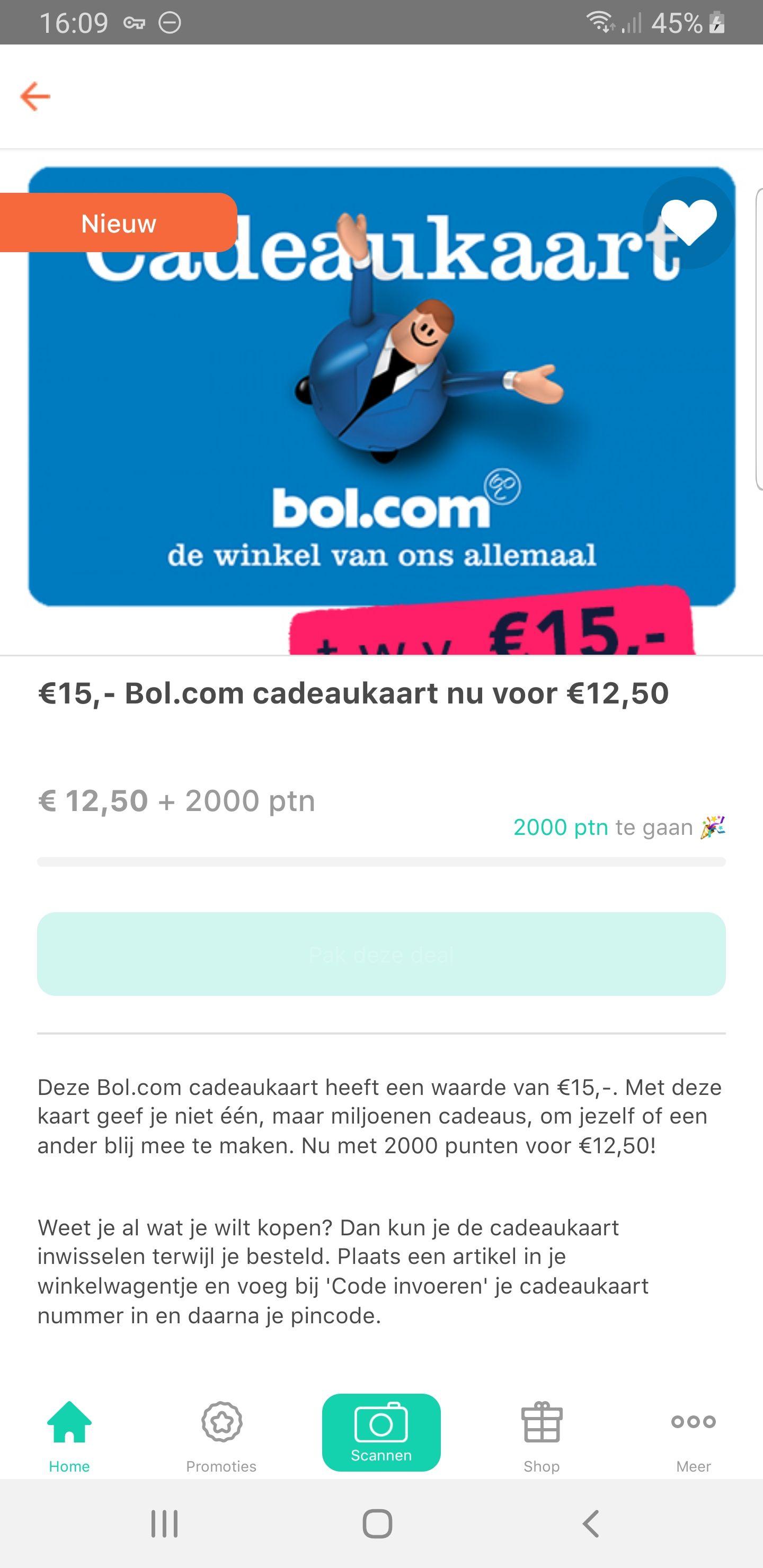 € 15,- Bol.com Cadeaubon voor € 12,50 en 2000 punten in Tessa App