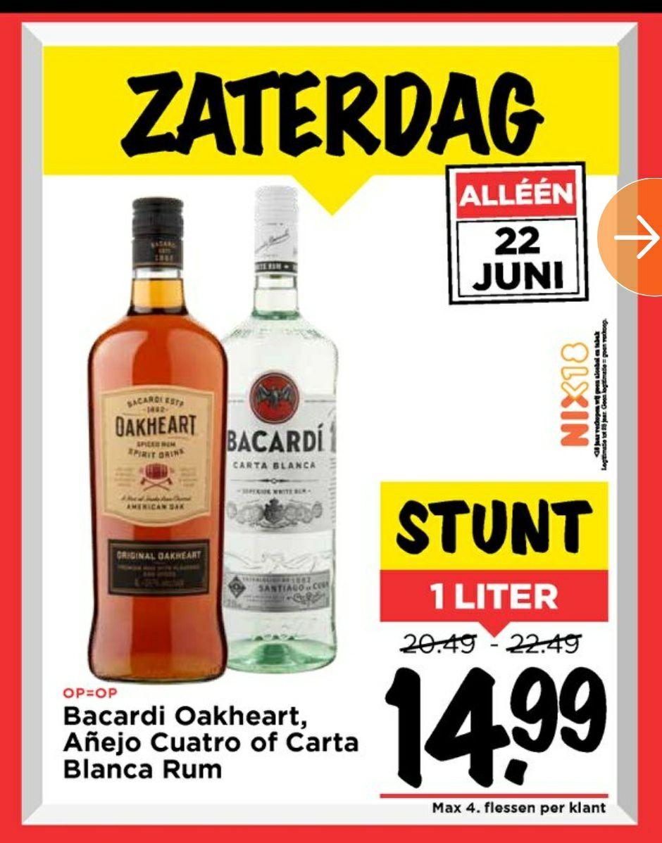 Bacardi 1L diverse smaken alleen zaterdag @Vomar