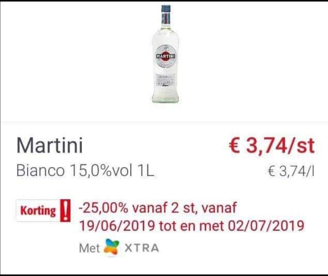 [Grensdeal België] Martini voor €2,80 per fles bij aankoop van 2 flessen