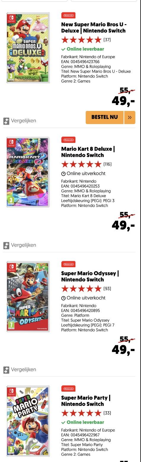 Diverse Mario Spellen voor de Switch