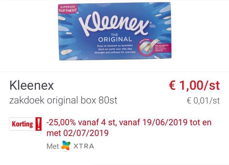 [Grensdeal België] Kleenex box tissues voor maar €0.75 (bij aankoop van 4)