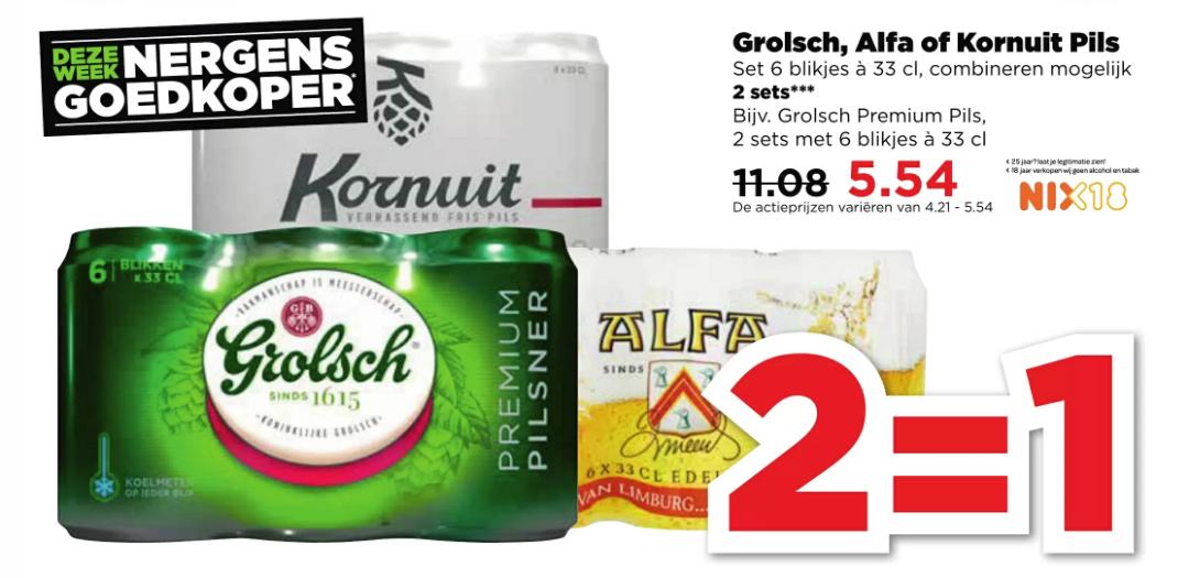 Corona, Grolsch, Alfa & Kornuit 2=1 (1+1 gratis) bij Plus