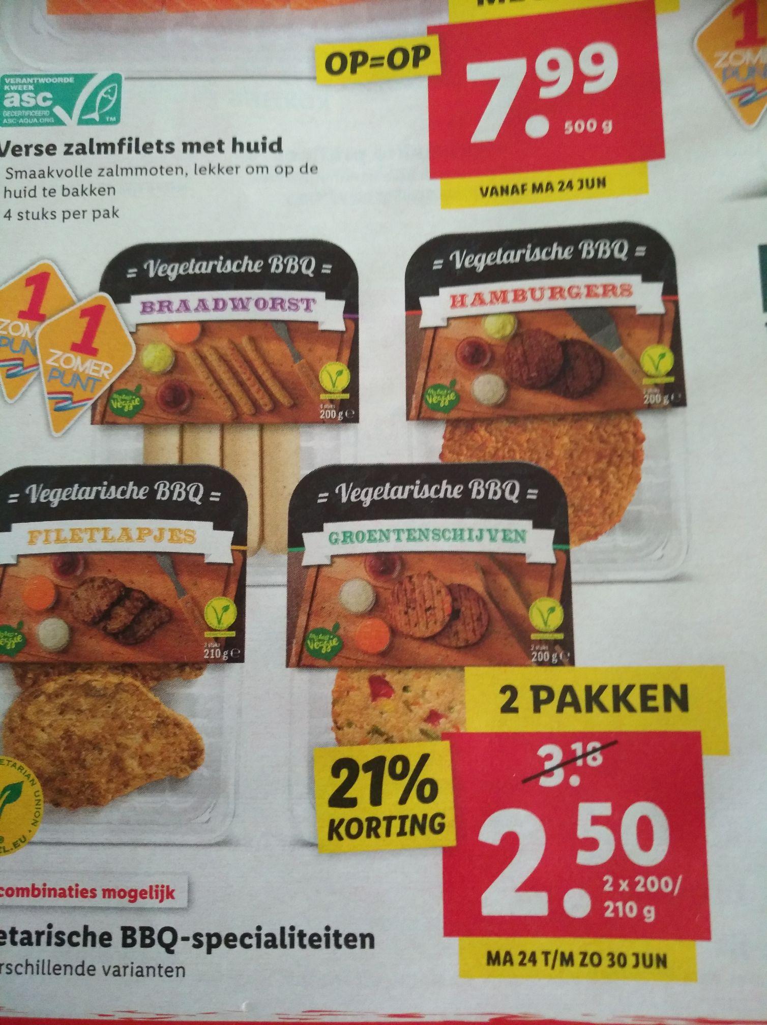 2 pakjes Vegetarische bbq-specialiteiten voor 2,50 bij Lidl