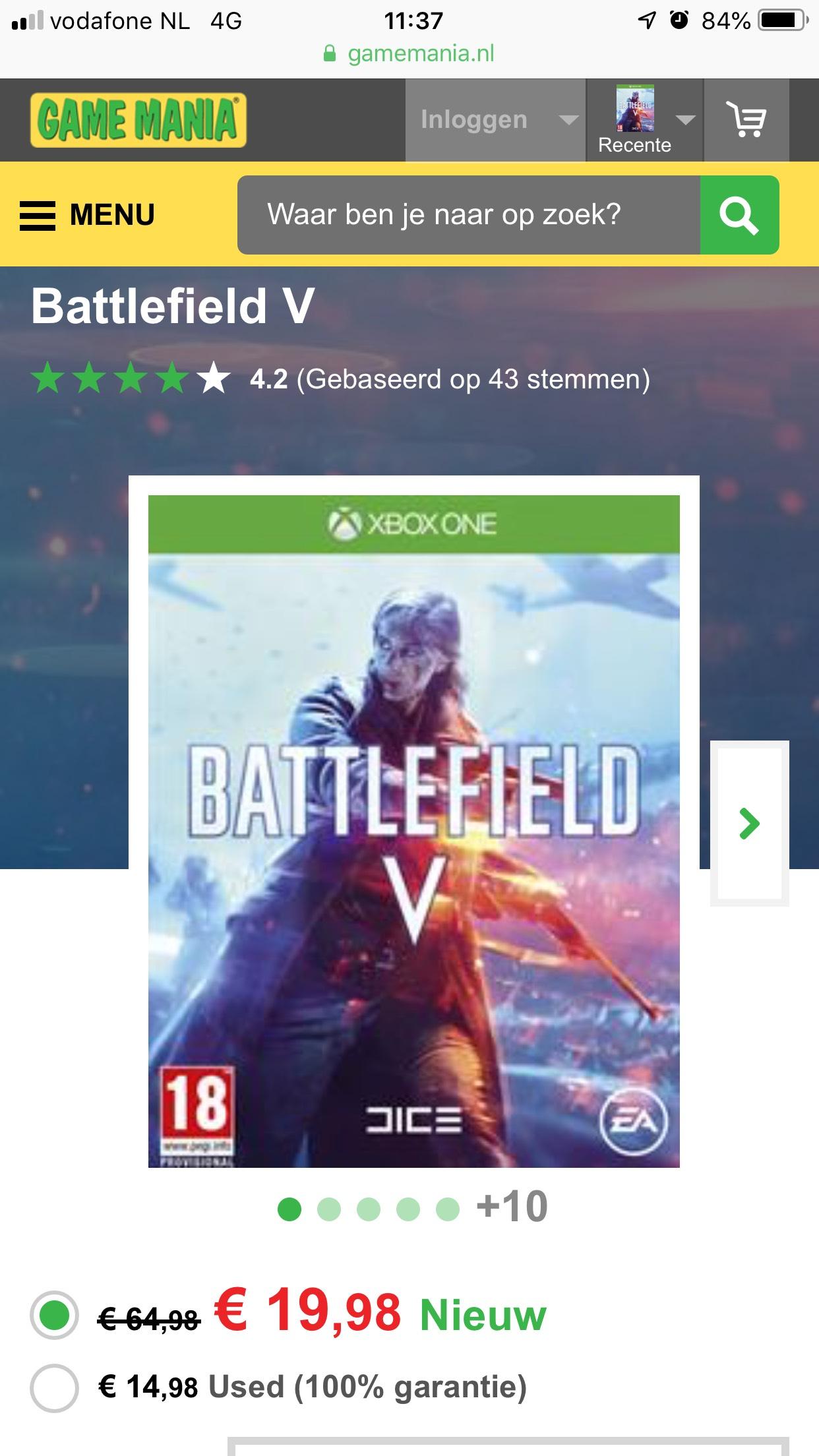 Battlefield V 20 euro bij Game Mania