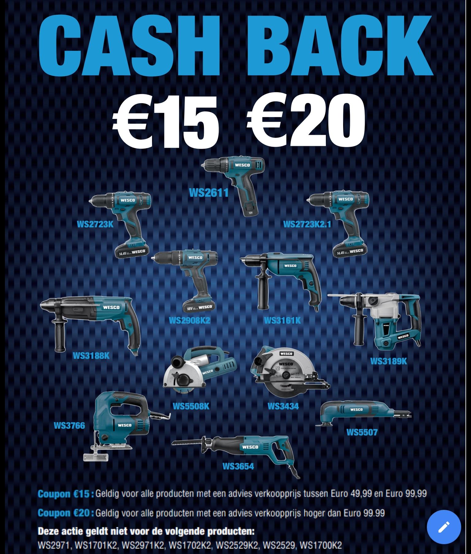 €15 of €20 cashback op Wesco gereedschap