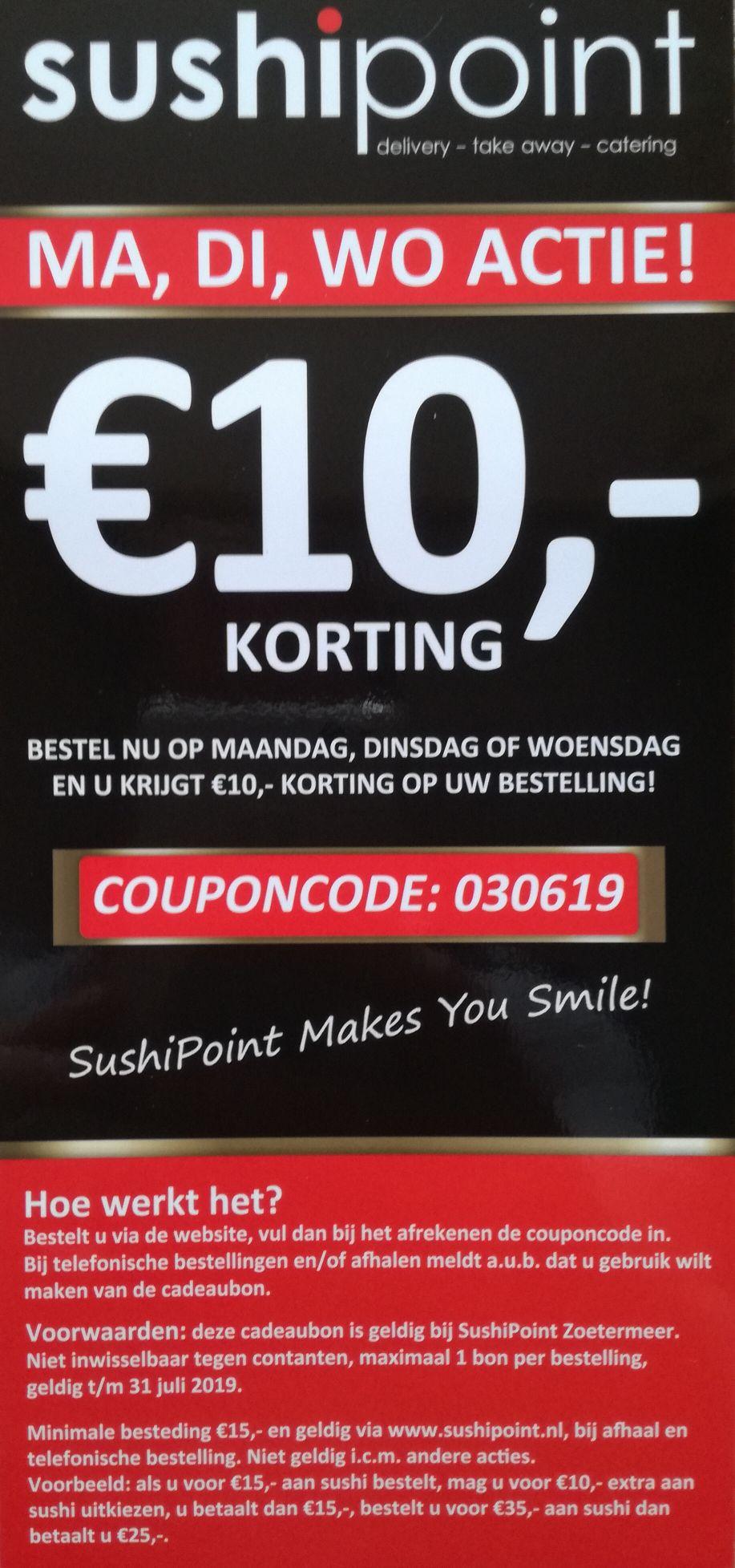 Sushipoint Zoetermeer €10,- korting op maandag, dinsdag en woensdag op het gehele sushi aanbod.