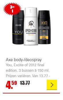 Axe body-/deospray: 3 halen, 1 betalen. Vanaf a.s. zondag bij Dirk