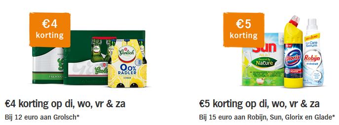 Extra korting van €5 voor AH bezorgbundel klanten bovenop de 1+1 gratis Albert Heijn (Robijn, Sun, Glorix, Glade en €4 op Grolsch)