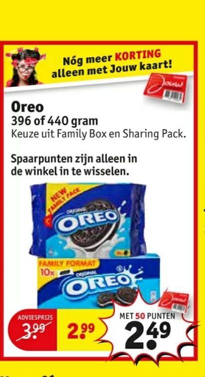 @Kruidvat, Oreo family box of sharing pack met 50 spaarpunten €2.49