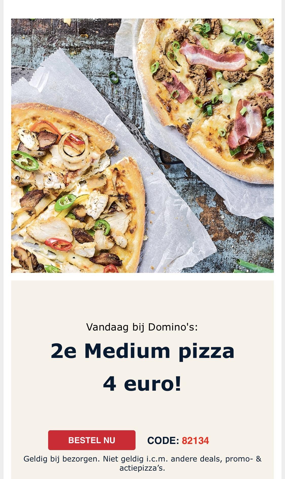 Tweede medium pizza 4 euro