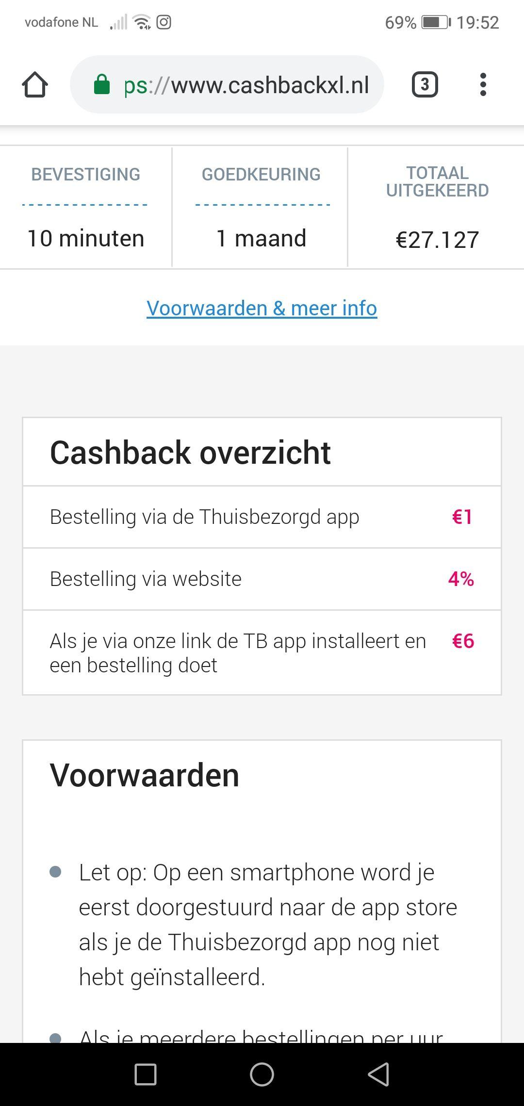 6 euro cashback bij installeren + bestelling Thuisbezorgd app