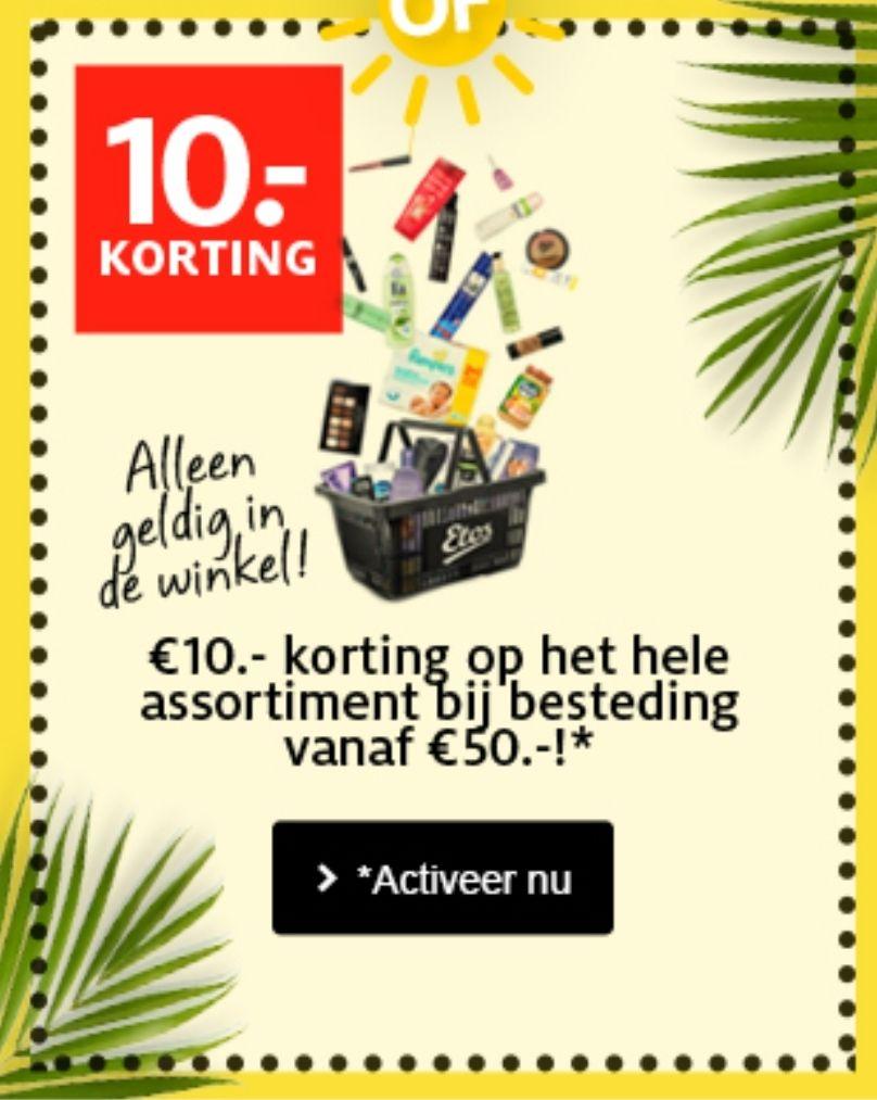 €7,- of €10,- korting op je totale aankoopbedrag bij Etos. Alleen in de winkels.