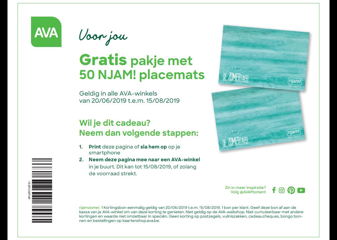 [Grensdeal België] 50 gratis placemats