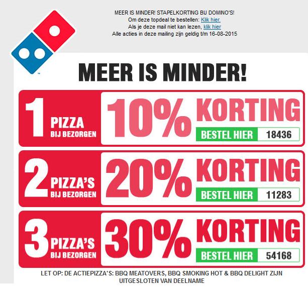 Stapelkorting op je pizza's bij bezorgen @ Domino's