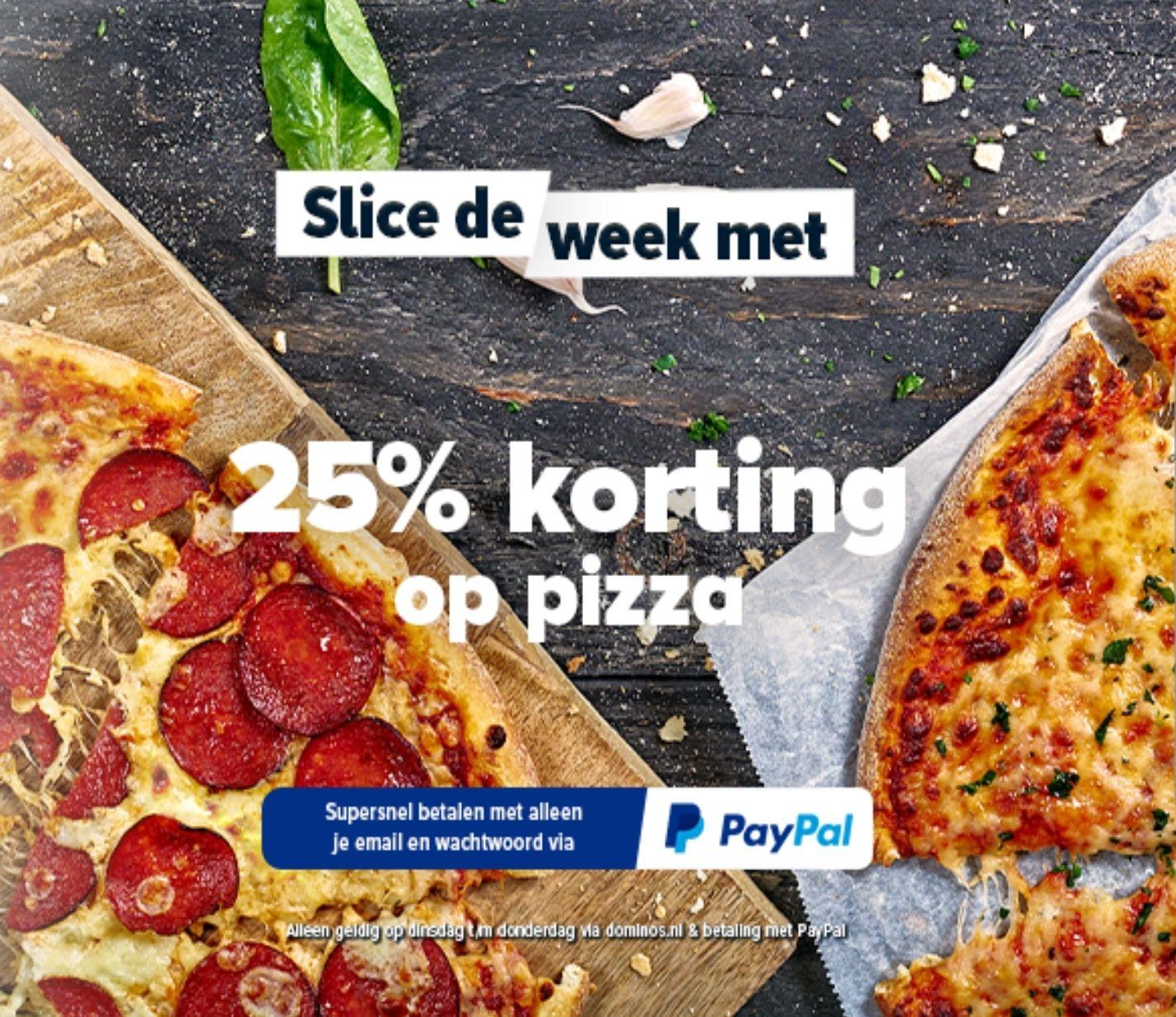 25% korting op je pizza's bij afhalen en bezorgen