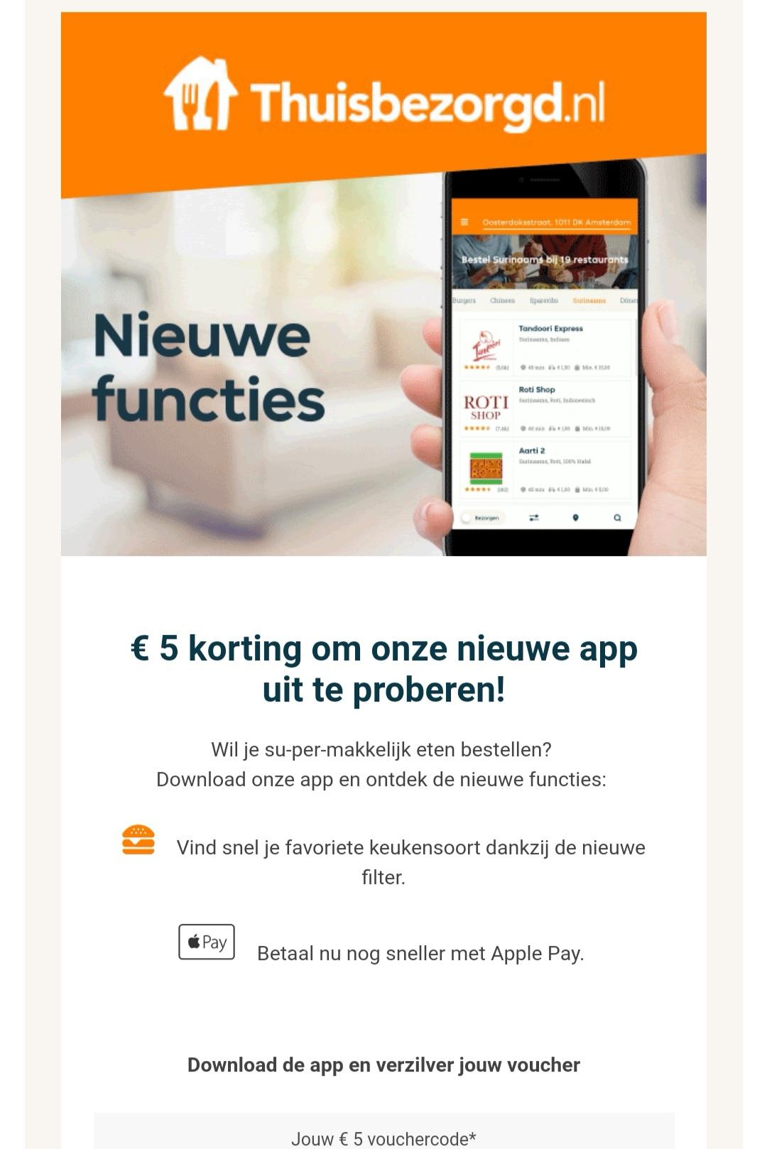 €5 of €3 korting bij uitproberen nieuwe Thuisbezorgd.nl app (check je email)