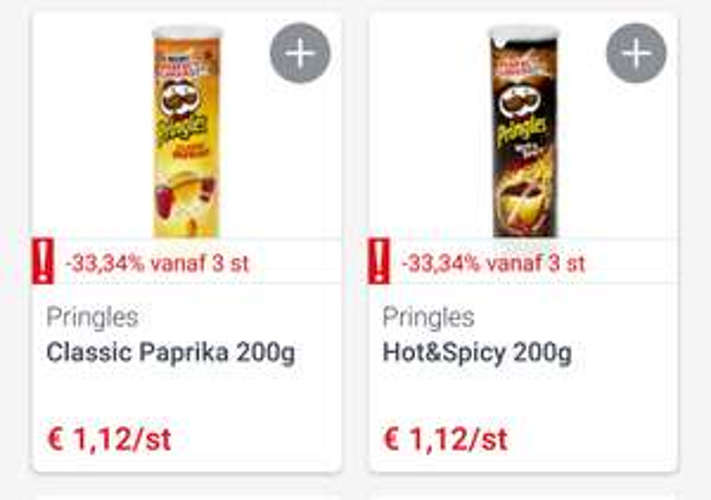 [GRENSDEAL BELGIË] 3 bussen Pringles 200g voor €2,24