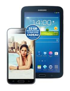Samsung Galaxy S5 +  Tab3 7.0 + microSD + Cover  + Samsung speakerbox voor € 38 p/m @ Typhone
