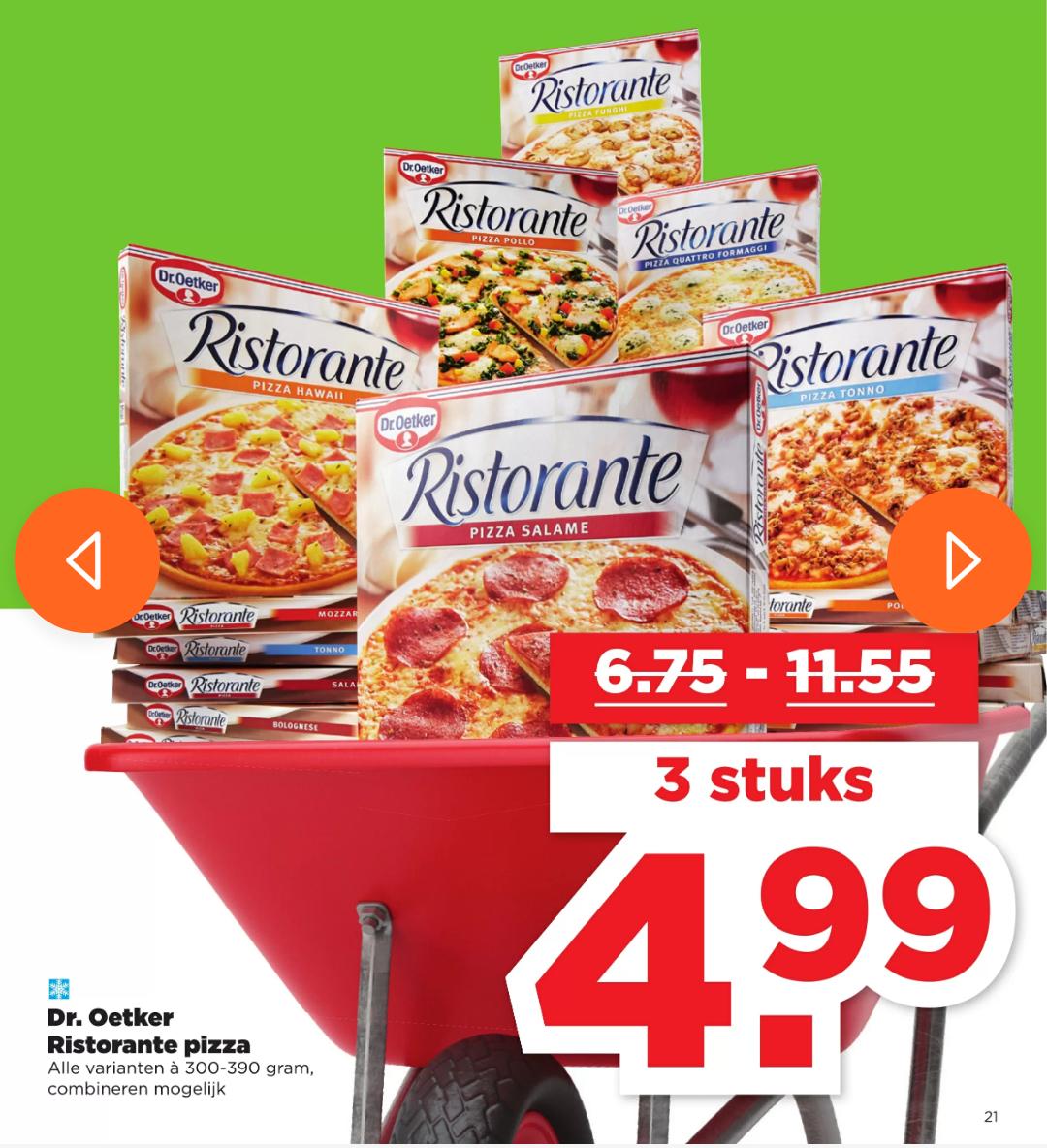 3 Ristorante pizza's voor €4,99 bij Plus (tot 56% korting)