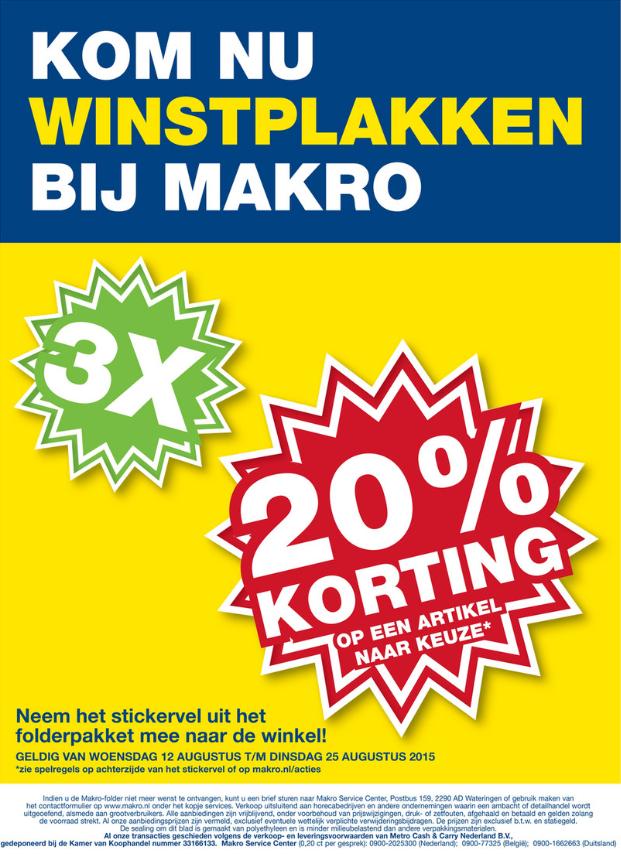 3x 20% korting plakken @ Makro