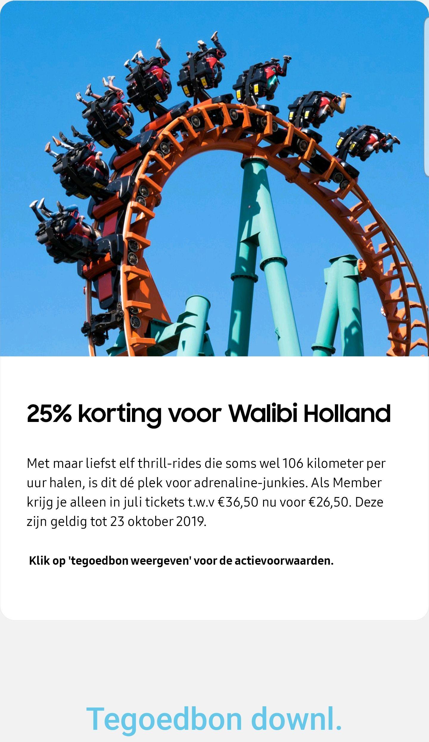 25% korting bij Walibi Holland @ Samsung members app