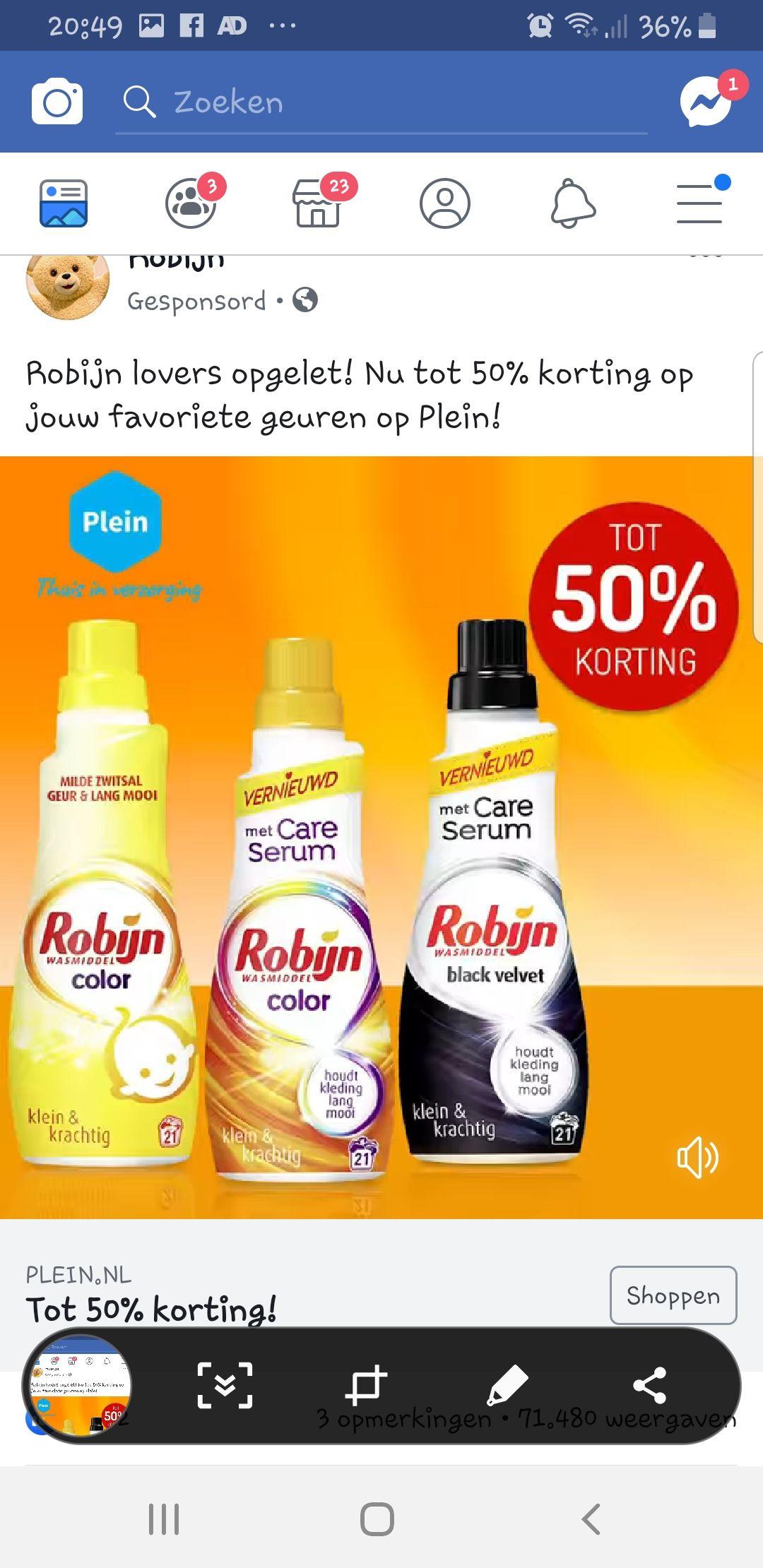 Online bij Plein.nl tot 50% korting op Robijn en meer...