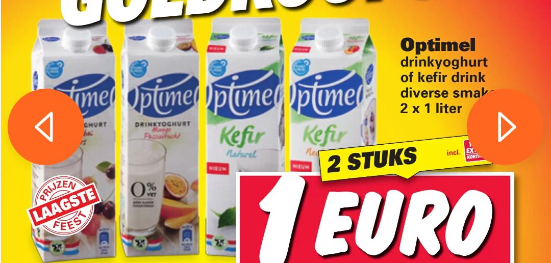 2 keer 1 liter Optimel drinkyoghurt of Kefir voor €1 bij Nettorama