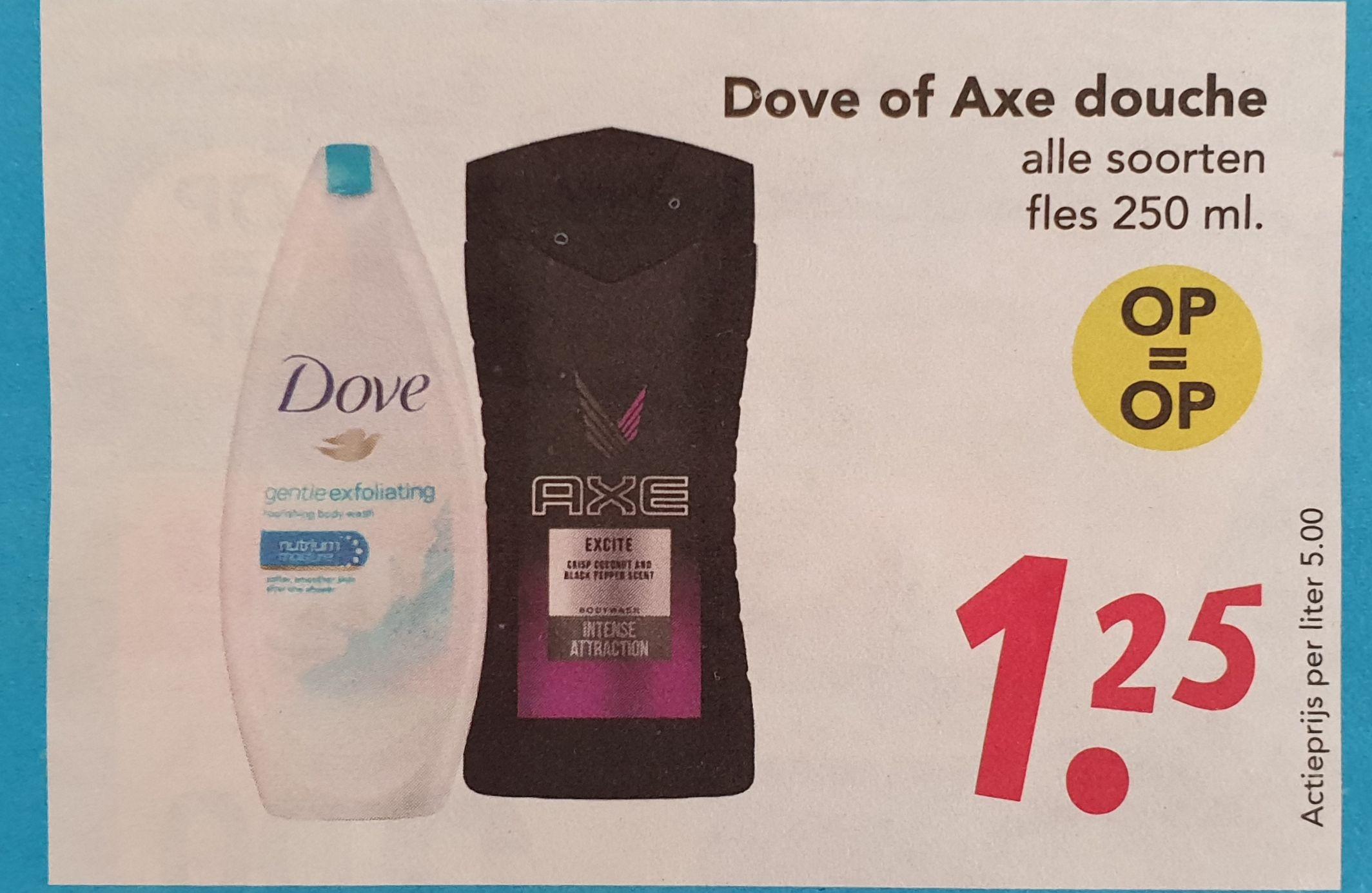 Dove en axe douche gel voor €1.25 per stuk @ Deen (Alleen dinsdag 2 juli)