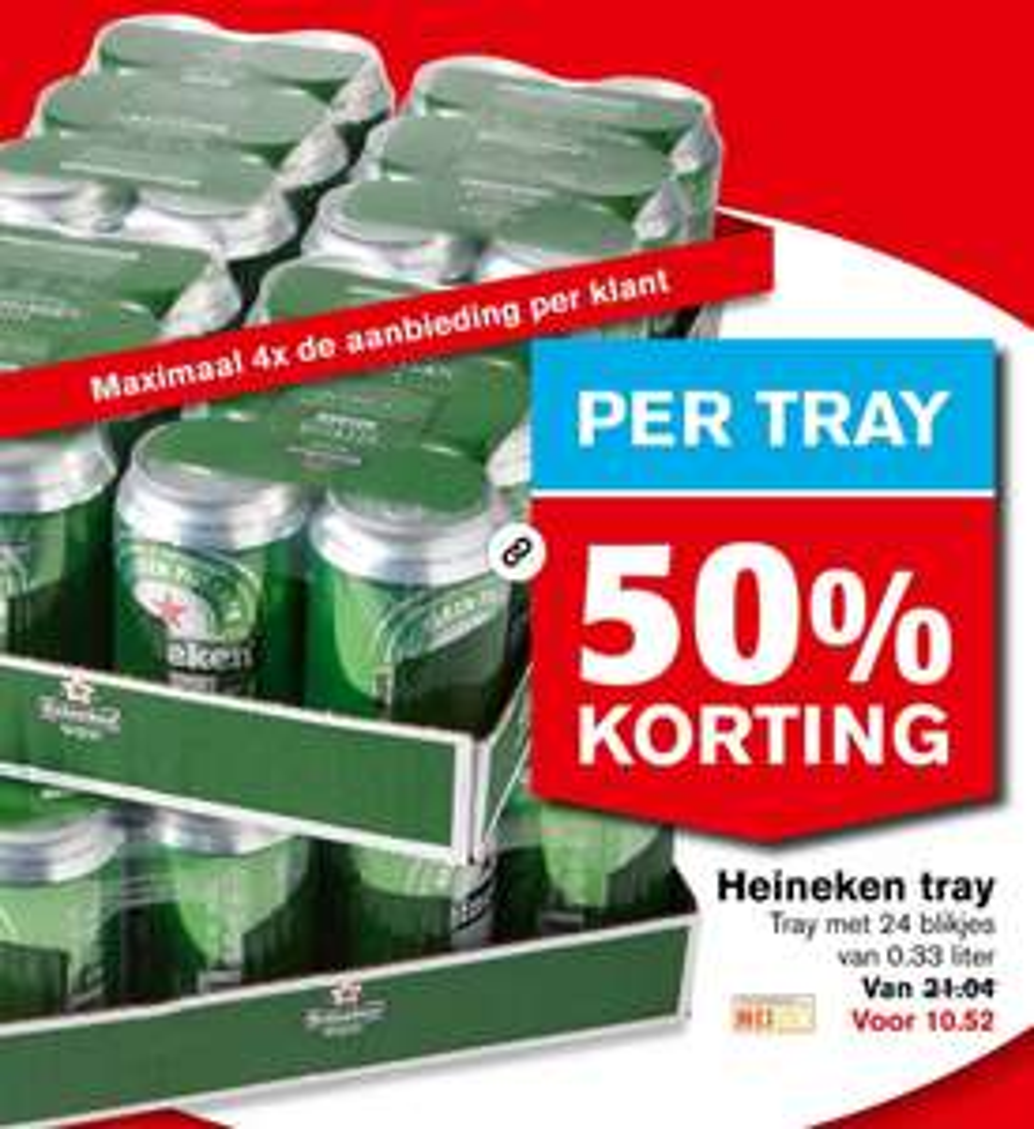 Tray 24 blikjes 33cl Heineken 50% korting!