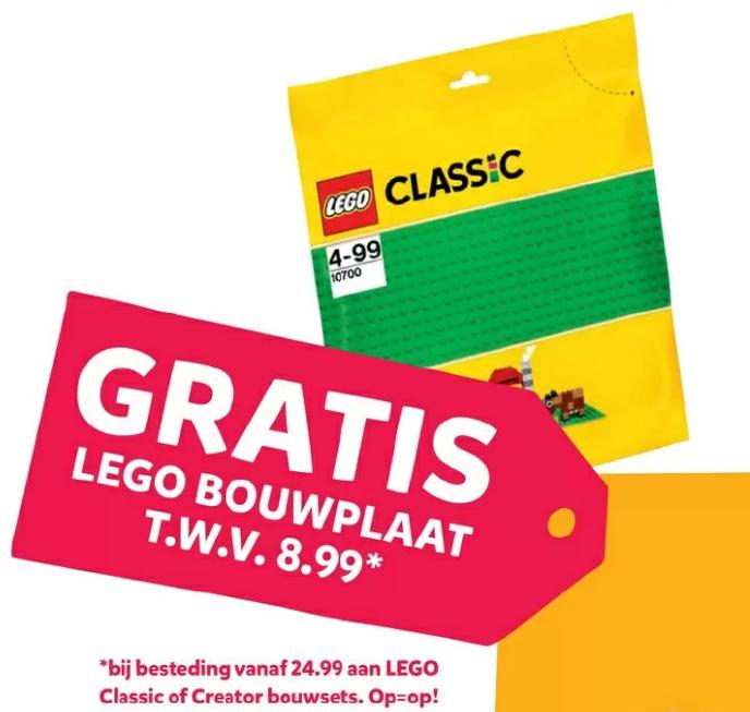 Gratis groene LEGO bouwplaat (10700, t.w.v. 8,99) bij besteding van 25 euro aan LEGO Classic of Creator @ Intertoys