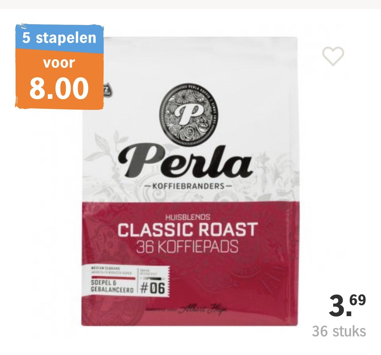 Perla Koffiepads 5 zakken voor €8,00 (€1,60 per zak á36 pads)