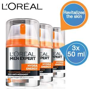 Drie dispensers L'Oreal Men Expert Hydra Energetic dagcrème voor €21