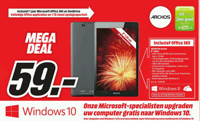 Archos 80 Cesium Windows 10 Tablet voor €59,- @ Media Markt (vanaf maandag)