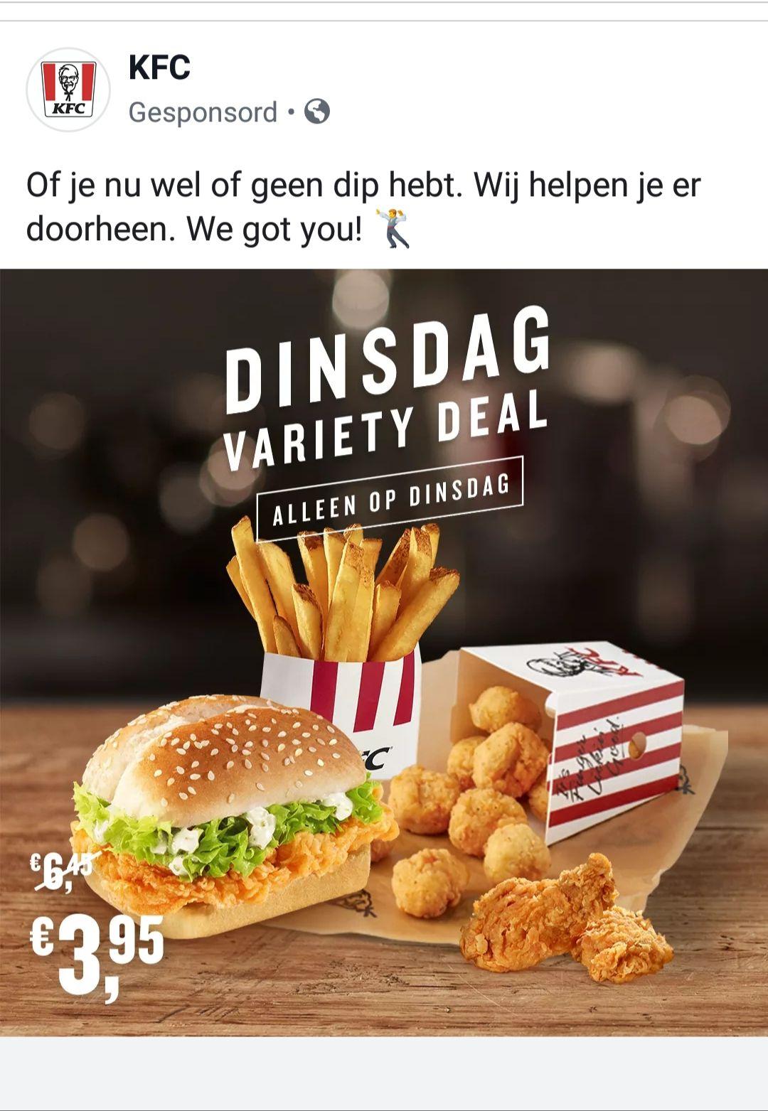 Dinsdag Variety deal bij KFC
