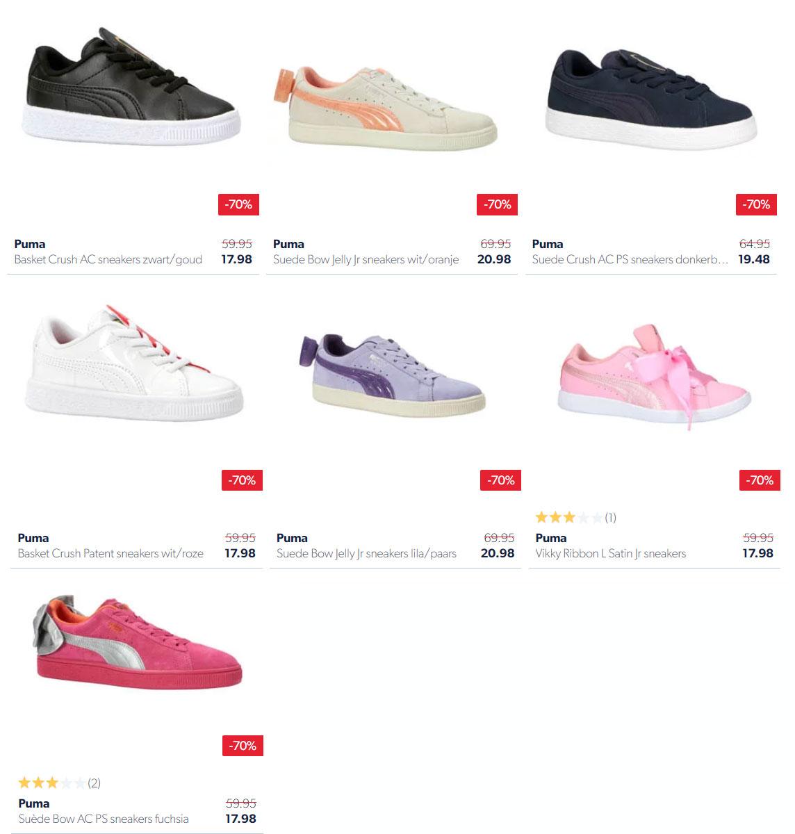 Puma kids sneakers -70% - 7 modellen van €17,98 - €20,98@ Wehkamp