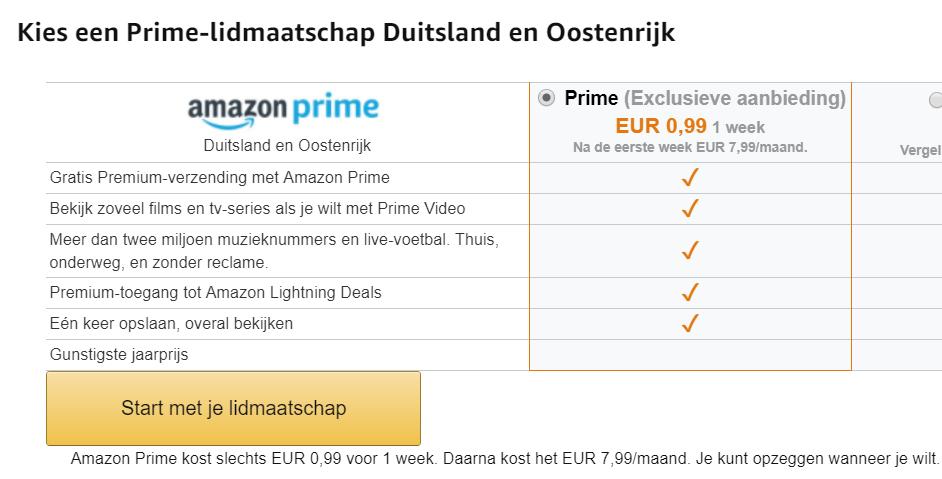 1 week Amazon Prime tijdelijk voor €0,99