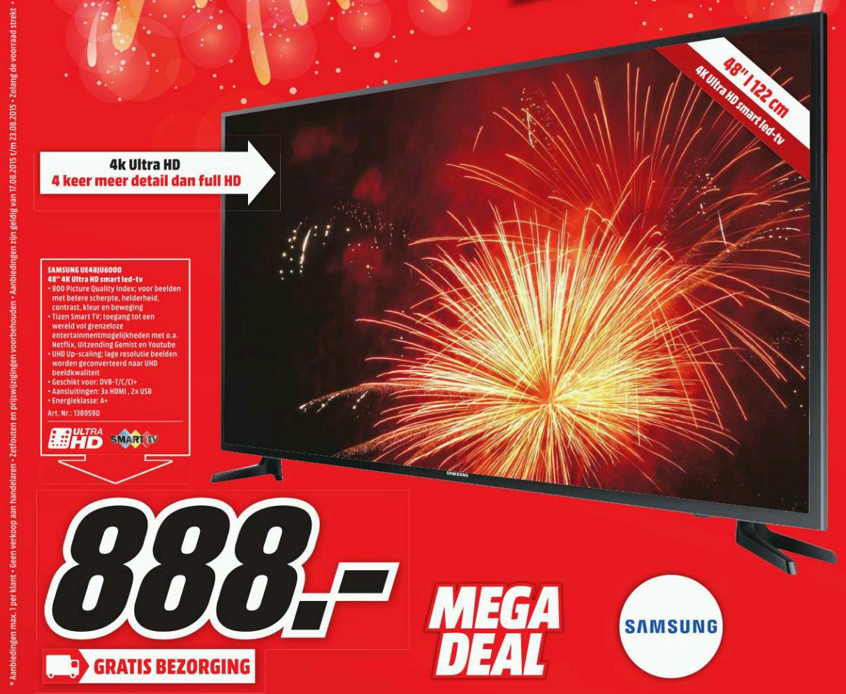 Samsung UE48JU6000W Ultra HD TV voor €888,- @ Media Markt (vanaf maandag)