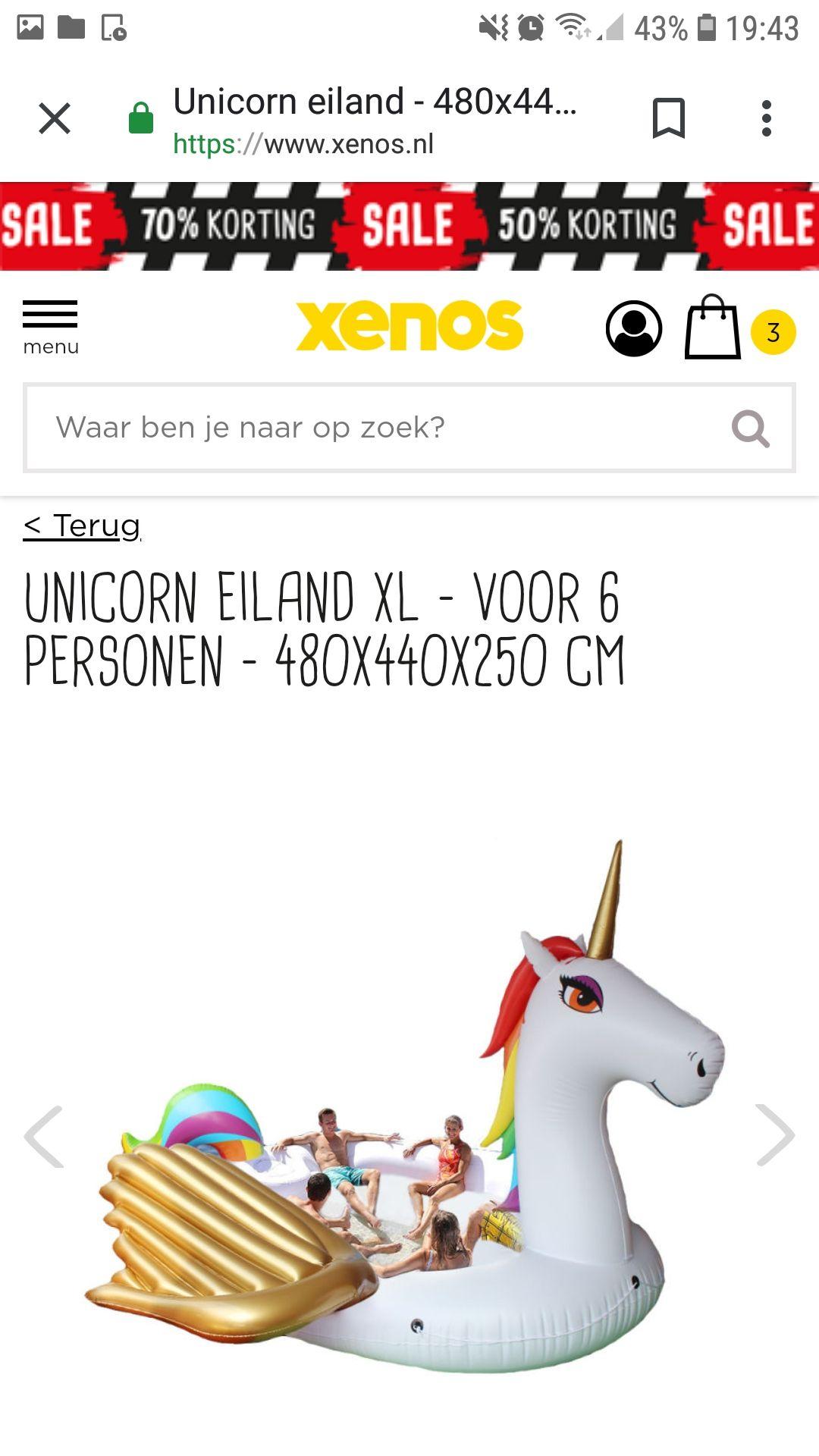 Unicorn eiland XL(voor 6 personen)480cm×440cm×250cm