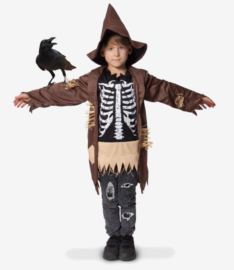 Halloween vogelverschrikker kostuum maat 116-134 normaal €13,99
