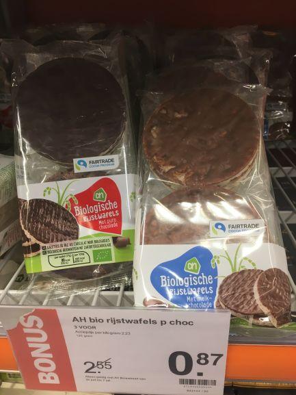 3 halen, 1 betalen: AH Biologisch Rijstwafels met melk en pure chocolade (Lokale aanbieding)