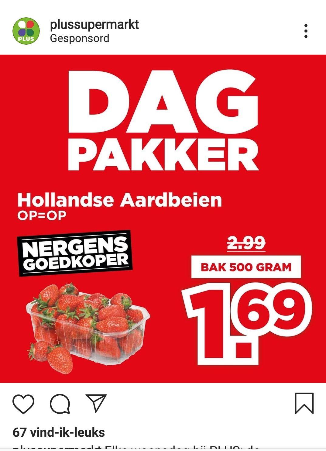 Woensdagpakker Plus; 500 gram aardbeien 1.69