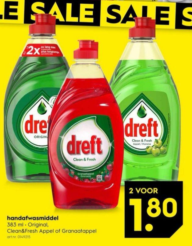 Dreft afwasmiddel, 2 stuks €1,80 || Blokker [In-store]