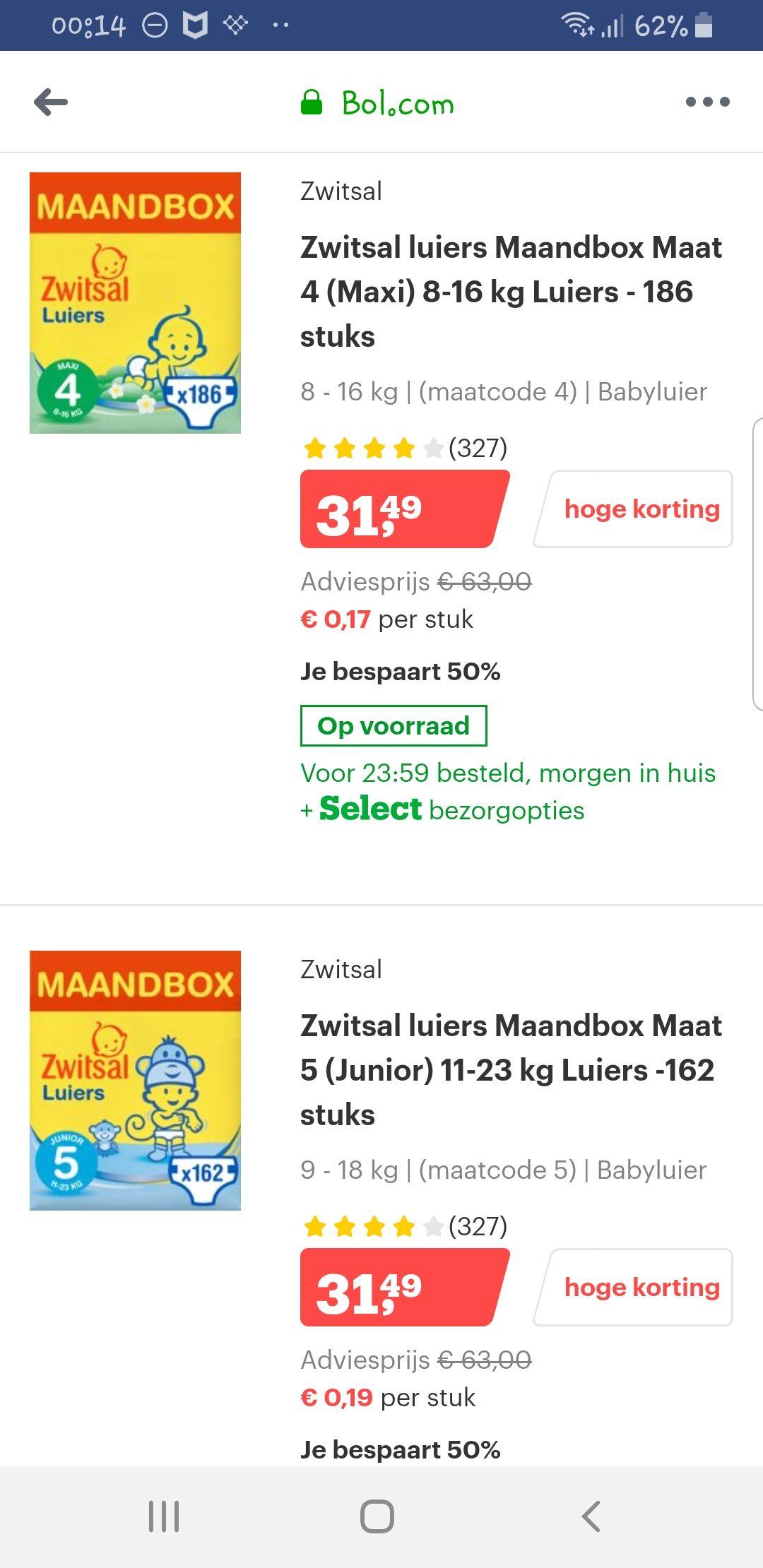 Zwitsal luiers maandboxen 50% korting bij Bol.com