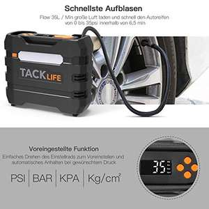 Tacklife ACP1B Luchtcompressor, 12 V draagbare digitale auto-luchtpomp