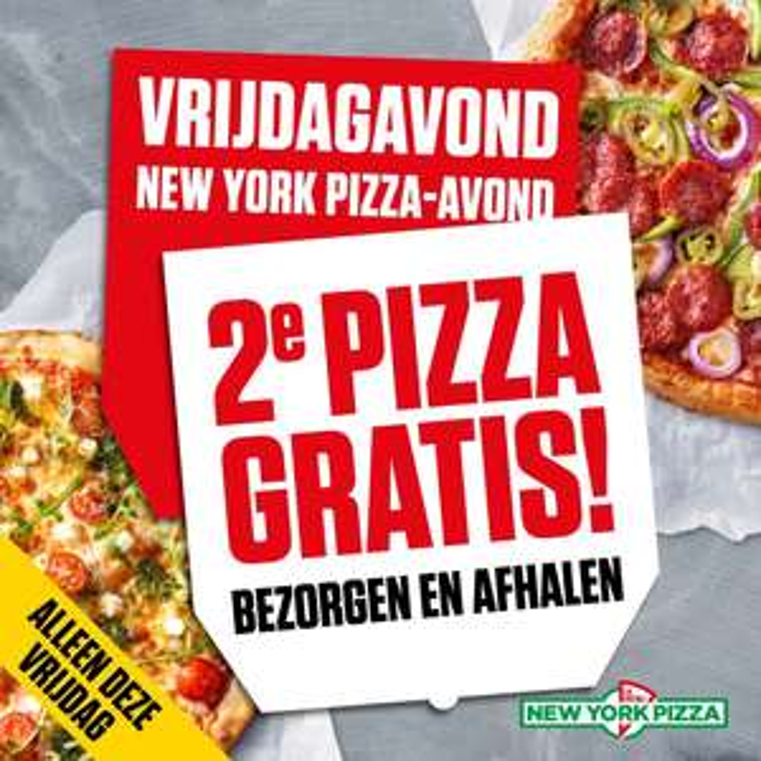 2e Pizza Gratis bij Bezorgen & Afhalen @ New York Pizza
