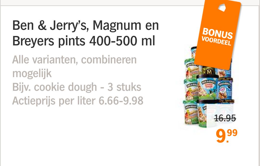 3 potten Ben & Jerry's, Magnum of Breyers voor €9,99 bij Albert Heijn