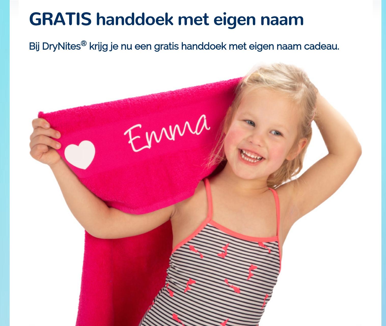 Bij 2 pakken DryNites gratis handdoek t.w.v. € 21,98 met eigen tekst en afbeelding