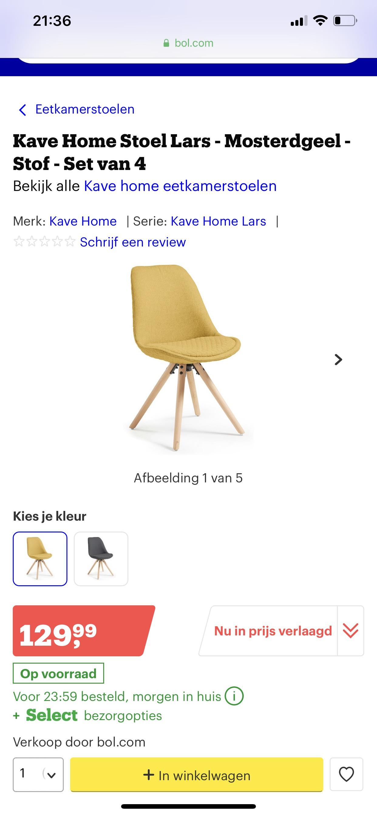 Kave stoelen set van 4