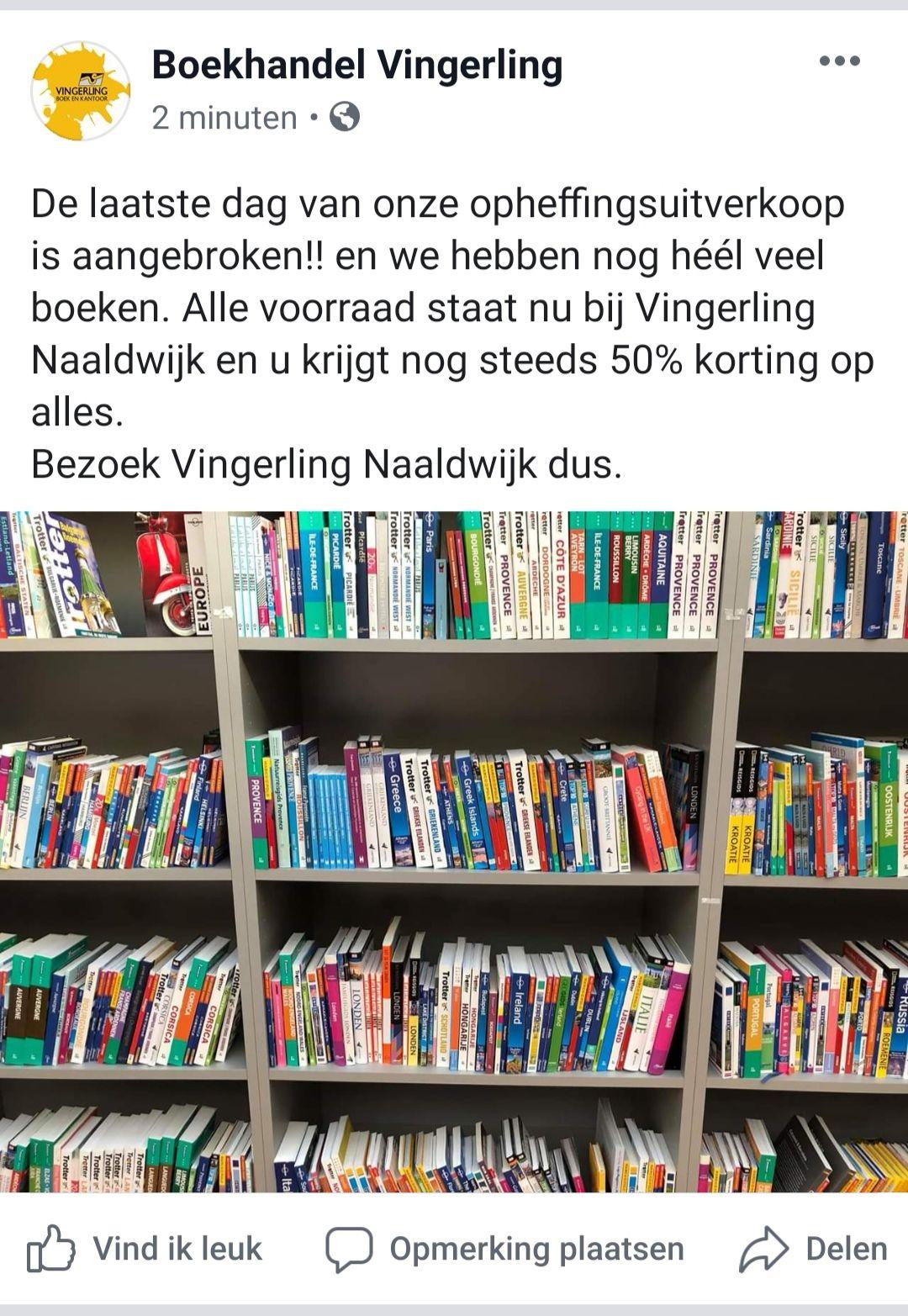 -50%! Opheffingsuitverkoop boekhandel Naaldwijk