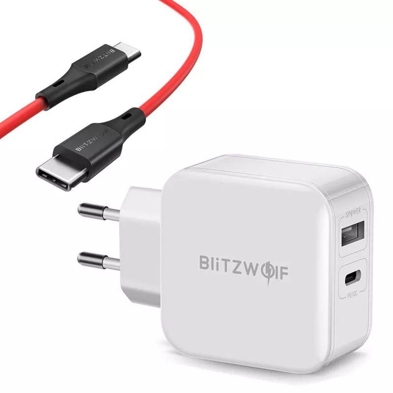 BlitzWolfBW-S1130WType-CPD/ QC3.0 + 2.4A Dual USB-lader EU-adapter + BW-TC17 3A USB PD Type-C tot Type-C Oplaadgegevenskabel 0,9 m